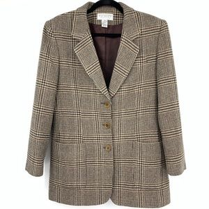 Talbots collections women's wool blazer plaid 10